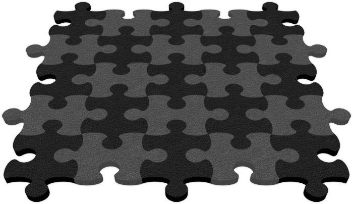 Black & Grey Flip-Flop Puzzle Mats