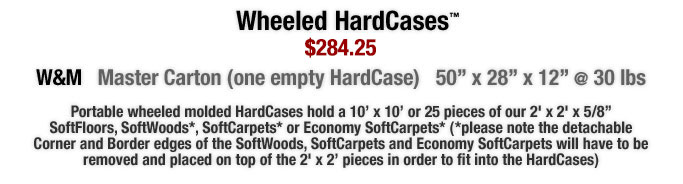 "Portable Wheeled molded HardCases hold a 10? x 10? or 25 pieces of our 2' x 2' x 5/8"" SoftFloors, SoftWoods, SoftCarpets or Economy SoftCarpets"