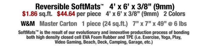 SoftMats™ is the result of our evolutionary and innovative production process of bonding both high density closed cell EVA Foam Rubber and TPE (i.e. Exercise, Yoga, Play, Video Gaming, Beach, Deck, Camping, Garage, etc.)