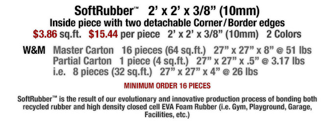 SoftRubber™ is the result of our evolutionary and innovative production process of bonding both recycled rubber and high density closed cell EVA Foam Rubber (i.e. Gym, Playground, Garage, Facilities, etc.)