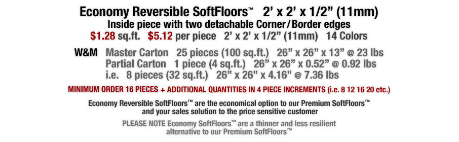 Economy Reversible SoftFloors™ are interlocking foam mats and the economical option to our Premium SoftFloors™  and your sales solution to the price sensitive customer